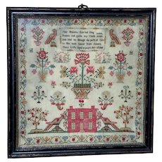 Georgian Silkwork Sampler with Large Birds and House Dated 1808 (reserved for Rebecca)
