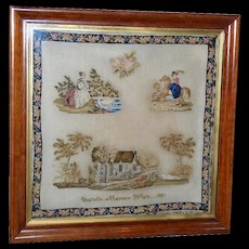 Large Early Victorian Pictorial Sampler, Dated 1851, in Its Original Rosewood Frame