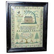 Regency Early 19th Century Silkwork Sampler with Brick House, Trees and Deer