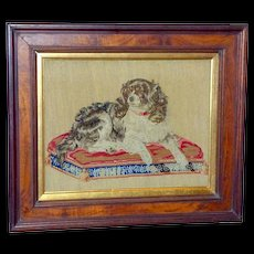 """19th Century Woolwork Pettipoint Depiction of """"Dash,"""" Queen Victoria's Favorite Dog"""