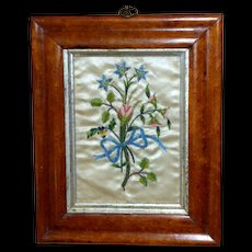 18th Century Silkwork of a Bouquet of Mixed Flowers Tied with a Bow