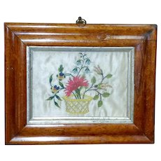 18th Century Silkwork Basket of Flowers