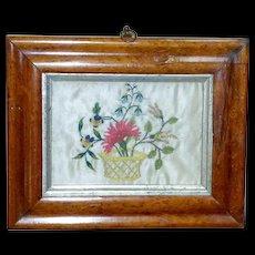 18th Century Silkwork Basket of Flowers