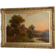 Idyllic Landscape with Figures on a Bridge near a Cottage, by Henry Maidment