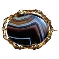 Scottish Banded Agate Brooch in Decorative Setting