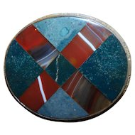 "Large Scottish Banded Oval ""Plaid"" Agate Set Brooch"