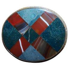 "Large Scottish Banded Oval ""Plaid"" Agate Set Brooch"