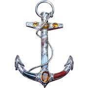 Large and Impressive 19th Century Scottish Silver and Agate Anchor Brooch