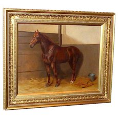 Antique Portrait of a Chestnut Hunter in a Loose Box, by Kate S. Badcock
