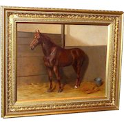 Portrait of a Chestnut Hunter in a Loose Box, by Kate S. Badcock
