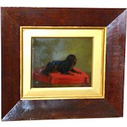 Victorian 19th Century Ruby King Charles Spaniel on a Tasseled Cushion