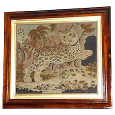 Large and Impressive Georgian 18th Century Fine Needlework of a Leaping Leopard