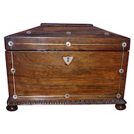 Early Victorian 19th Century Rosewood Sarcophagus Tea Caddy