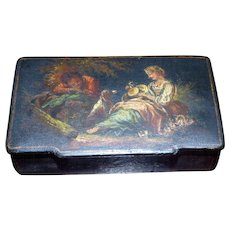 Mid-19th Century Black Lacquered Papier Mache Snuff Box with Romantic Vignette