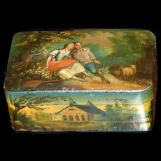 Mid-19th Century Papier Mache Snuff Box Beautifully Painted on All Sides