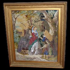 Victorian Beadwork and Woolwork Picture Depicting a Fortune Teller with Ladies and Their Dog