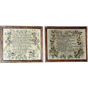 Complimentary Pair of Unusual Early 19th Century Samplers Worked in Silk with Birds and Flowers