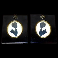Pair of 19th Century Early Victorian Silhouettes of Two Brothers