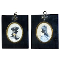 Pair of 19th Century Silhouettes of an Officer and a Lady