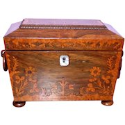 Regency Rosewood and Marquetry Inlaid Tea Caddy, c. 1830