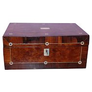 Early Victorian 19th Century Burr Yew, Rosewood and Mother-of-Pearl Jewelry Box