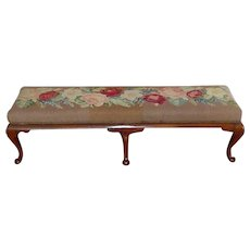 19th Century Long Mahogany Footstool with Needlework in Pink, Red and White Roses