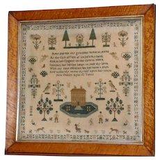 Early 19th Century Silkwork on Linen Sampler