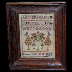 Miniature Victorian Sampler Dated 1863 with Alphabet, Hearts, Birds and Bunny