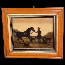 """Early 19th Century Painted-on-Glass Silhouette, """"The Huntsman"""""""