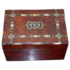 Victorian Late-19th Century Burr Yew Tea Caddy with Marquetry and Mother-of-Pearl