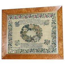 Pretty Early Victorian 19th Century Sampler Embroidered with Roses and Other Silkwork Flowers