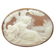 Large Victorian 19th Century Cameo Brooch Depicting a Classical Scene of a Maiden and a Cherub