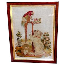 Large 19th Century Needlework Depiction of Landseer's Painting of Queen Victoria's Pets