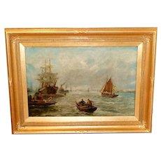 Antique Shipping Scene on the Tyne River, by Bernard B. Hemy
