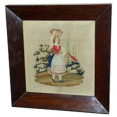 Early Victorian 19th Century Woolwork of Lady Carrying a Basket of Fruit