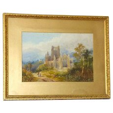 Large Victorian 19th Century Watercolor of Tintern Abbey