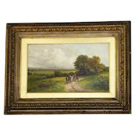 Antique Idyllic Landscape with Figures, by Robert J. Hammond