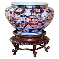 Meiji Period 19th Century Imari Jardinière Painted with Flowers and Buildings