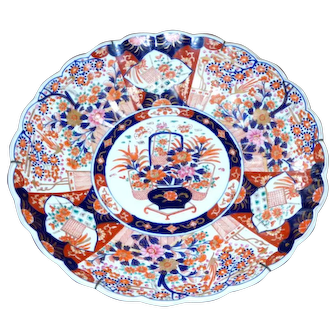 19th Century Meiji Period Large and Impressive Imari Floral Basket Charger
