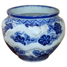 19th Century Hirado Meiji Period Large Blue and White Jardinière