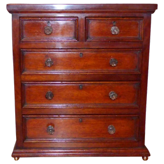 Late 19th  Century Miniature Mahogany Chest of Drawers