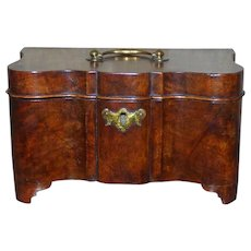 Dutch Burr Walnut Serpentine Tea Caddy with Brass Canisters, Circa 1820