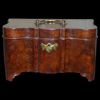 Dutch Burr Walnut Serpentine Tea Caddy with Brass Canisters, Circa 1820