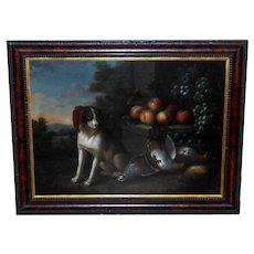 18th Century Dutch Still Life of a Dog with Dead Game and Fruit on a Stone Ledge