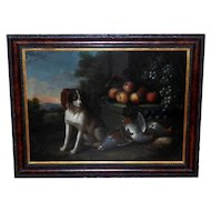 Antique Large 18th Century Dutch Still Life of a Dog with Dead Game and Fruit on a Stone Ledge