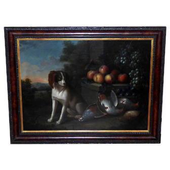 Large 18th Century Dutch Still Life of a Dog with Dead Game and Fruit on a Stone Ledge