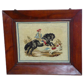 19th Century Woolwork Picture of a Child on a Rearing Horse with Dog