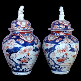 Pair of 18th Century Edo Period Imari Baluster Vases with Foo Dog Tops