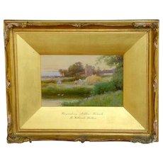 """""""Haymaking, Ashlow, Warwickshire,"""" a Watercolor by R. Hollands Walker"""