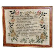 Unusual William IV Early 19th Century Sampler with Silk Flowers